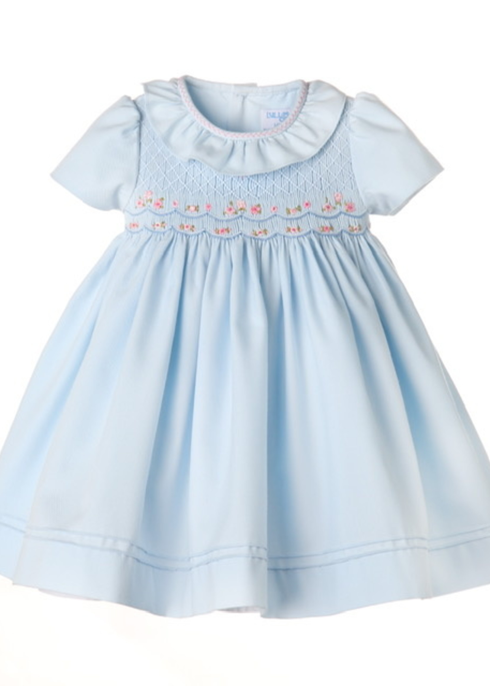 Blue Full Smock Embroidery Dress