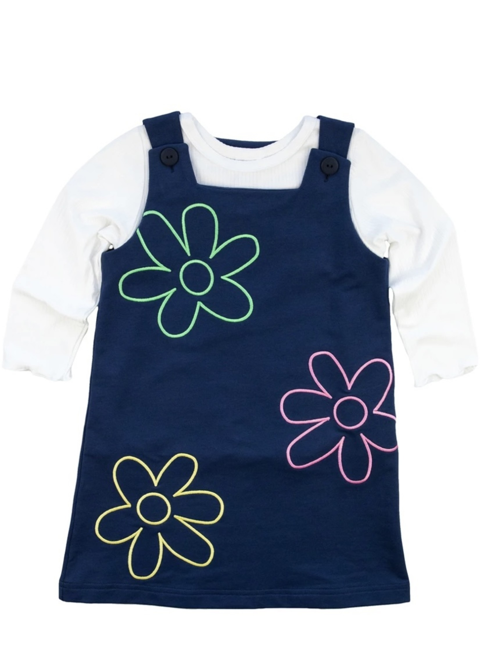 Navy French Terry Jumper Set with Flower Outlines