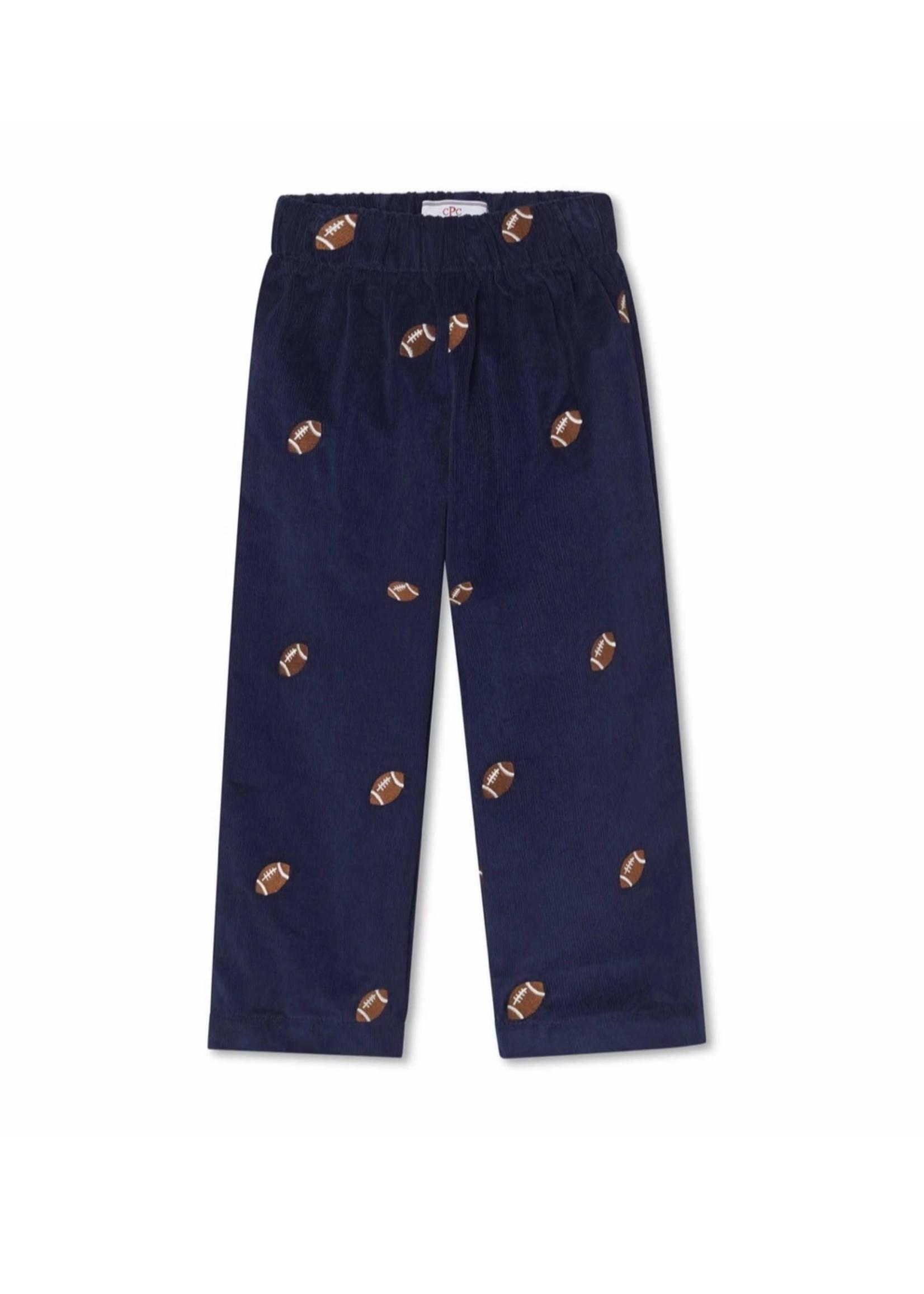 Myles Slim Pant - Medieval Blue w/ Football Embroidery