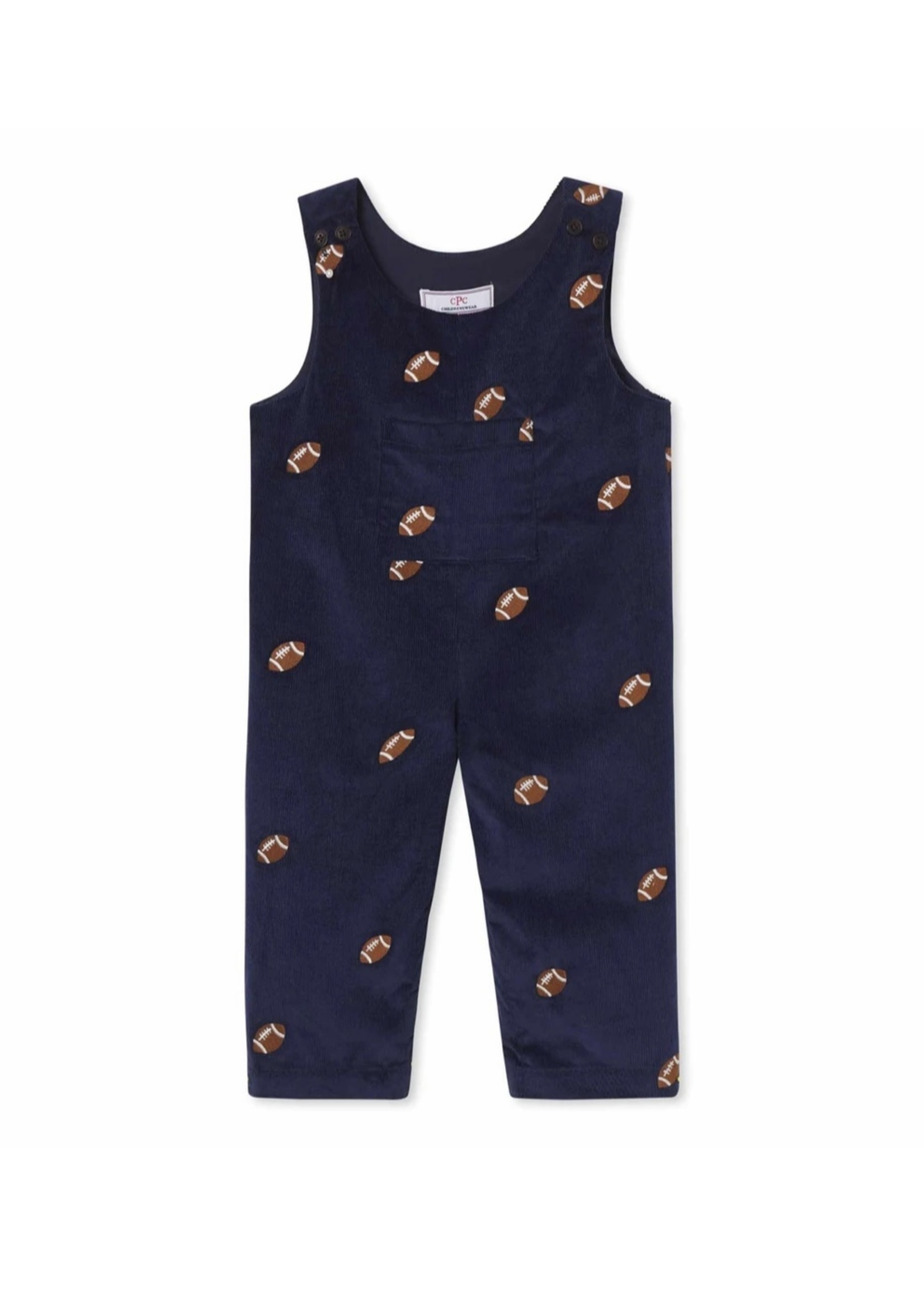 Tucker Overall - Medieval Blue w/ Football Embroidery