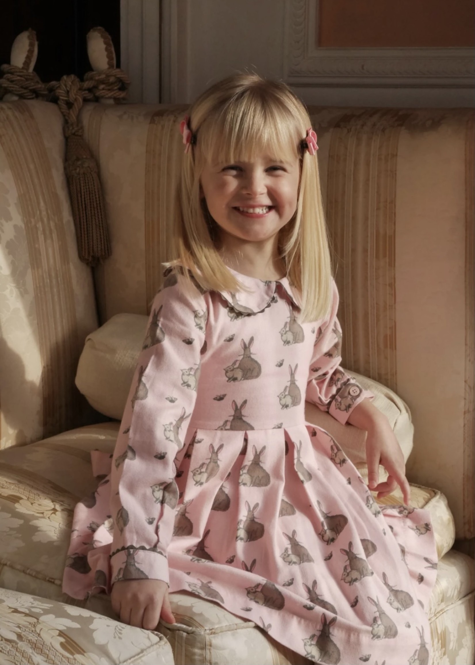 Bunny Flannel Dress Pink