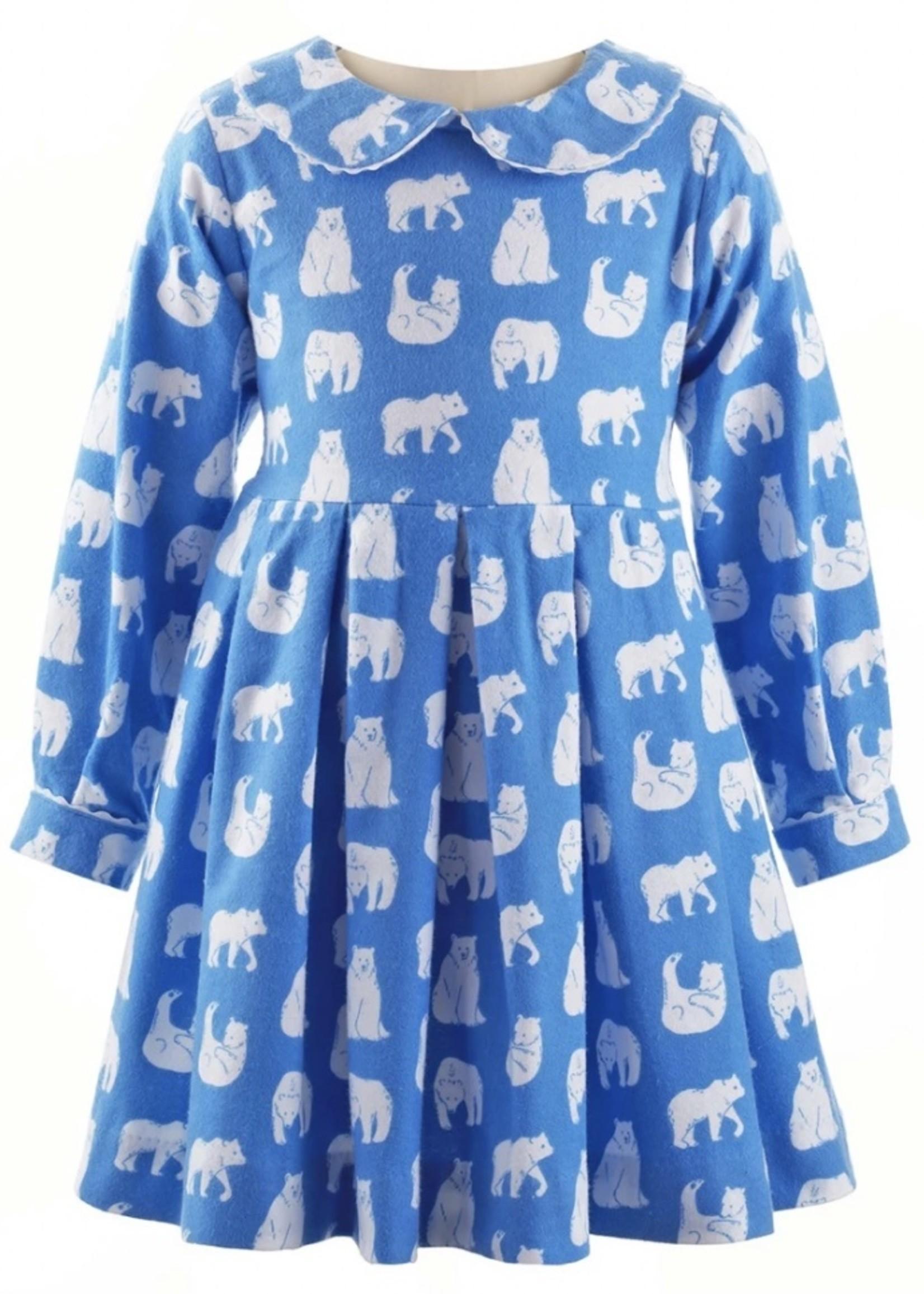 Polar Bear Flannel Dress Blue