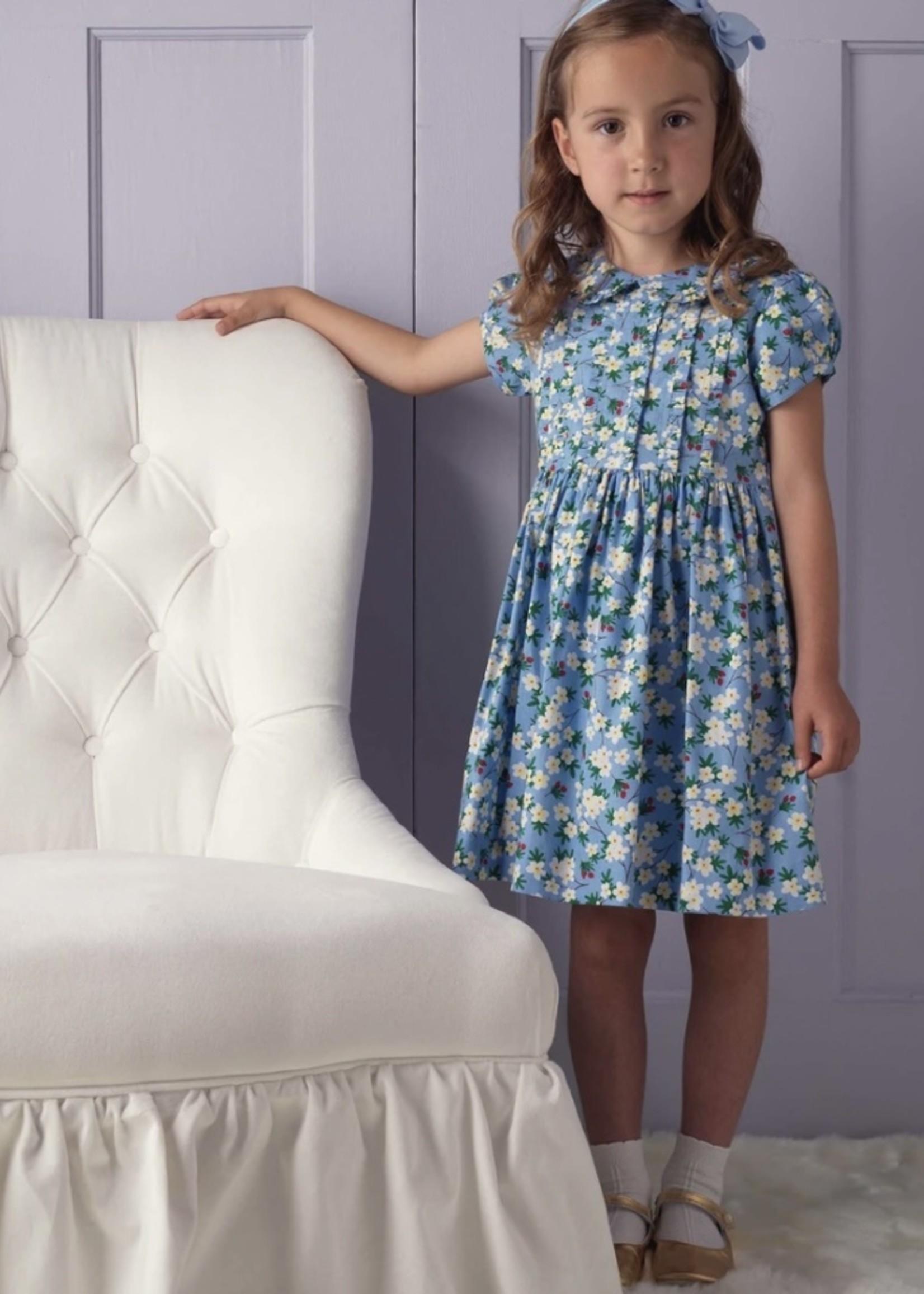 Winter Bloom Frill Dress Blue