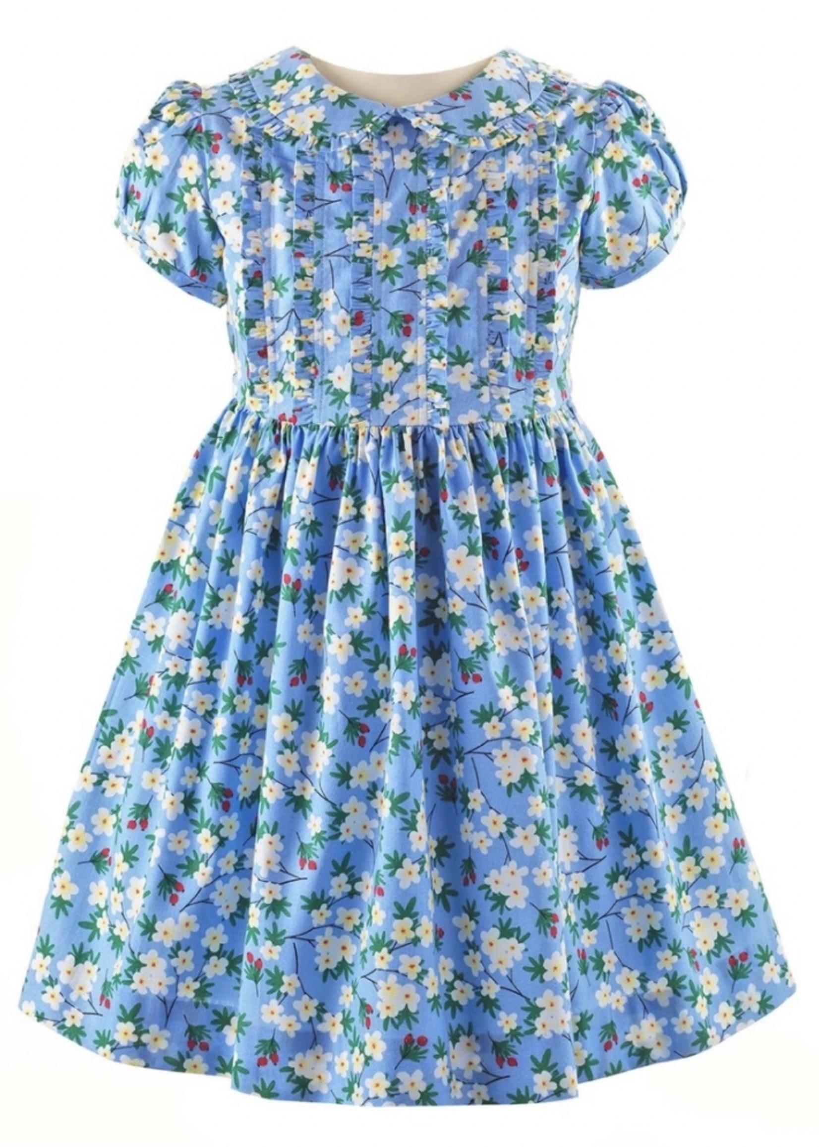 Winter Bloom Frill Dress & Bloomers Blue