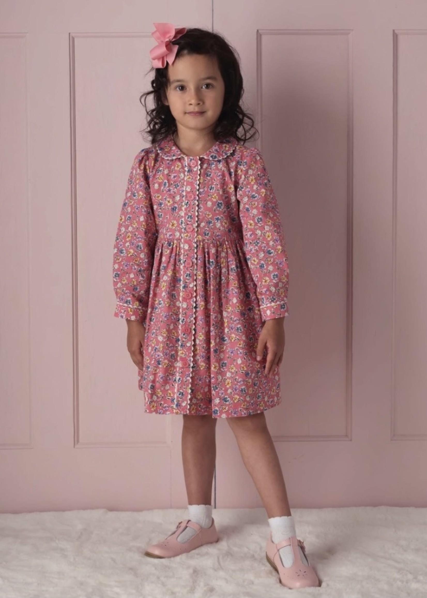 Flower Garden Button-Front Dress Pink