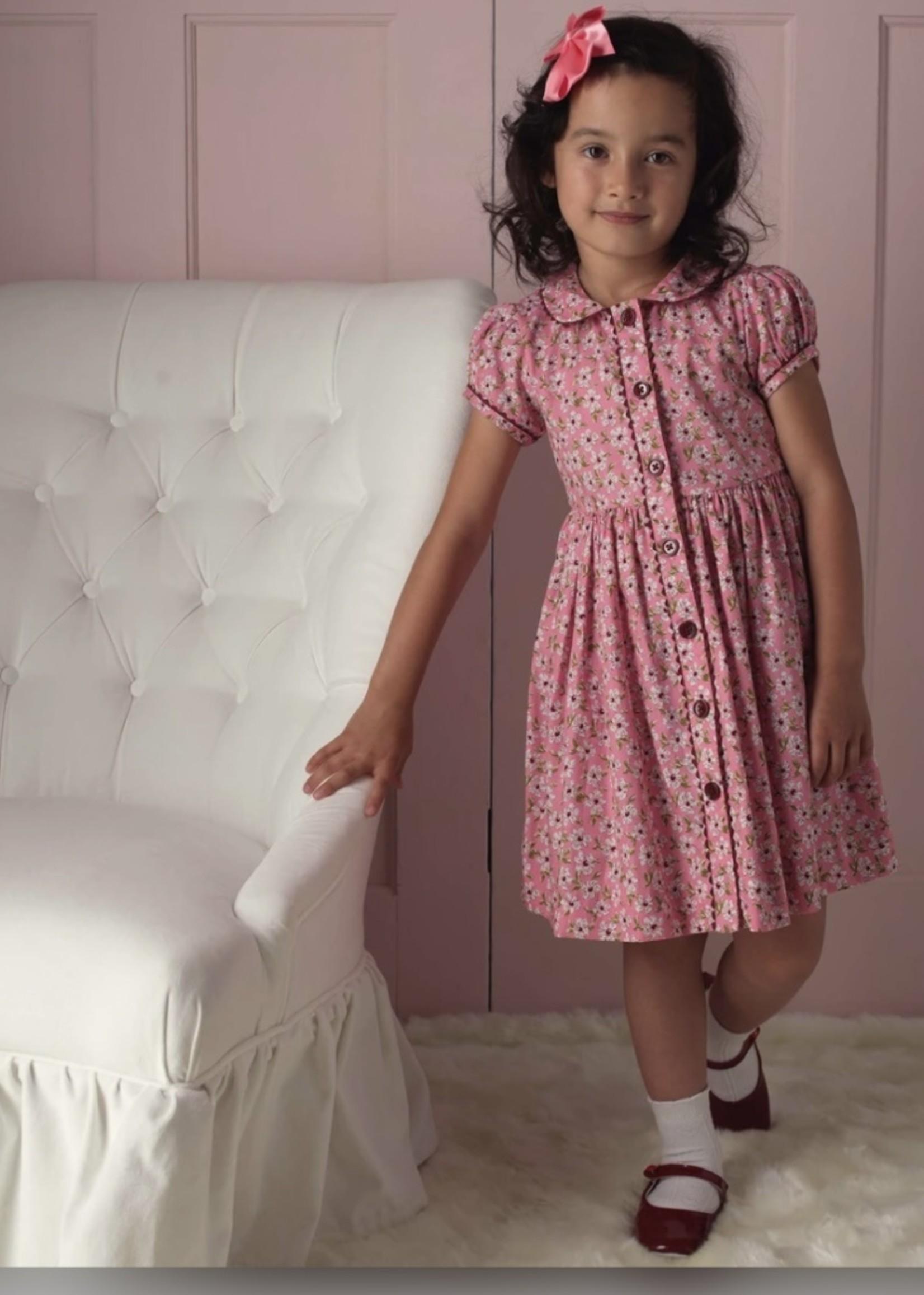 Pink Floral Button-Front Dress