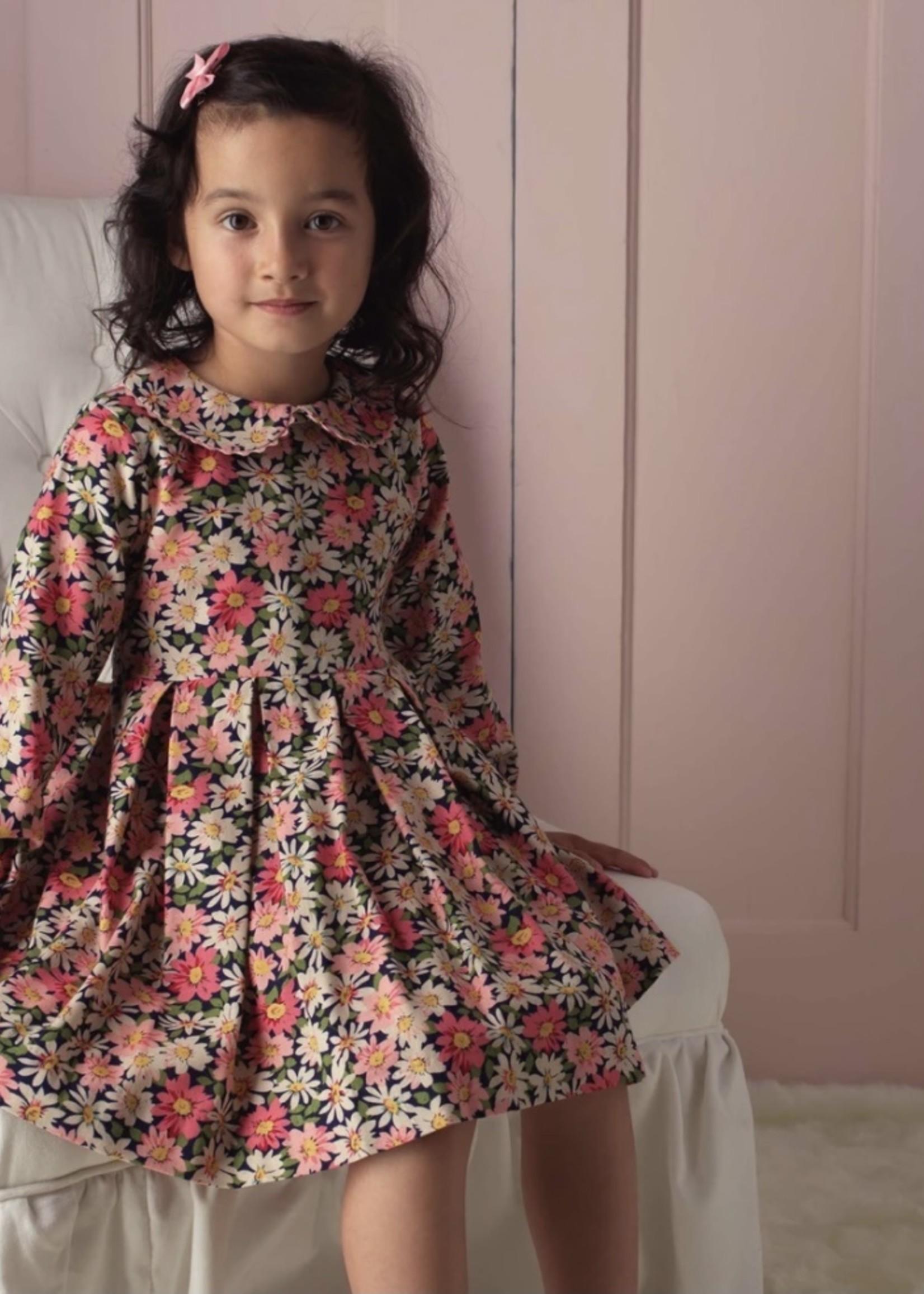 Floral Flannel Dress Multi-color