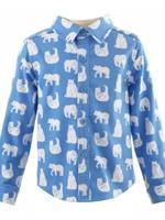 Polar Bear Flannel Shirt Blue