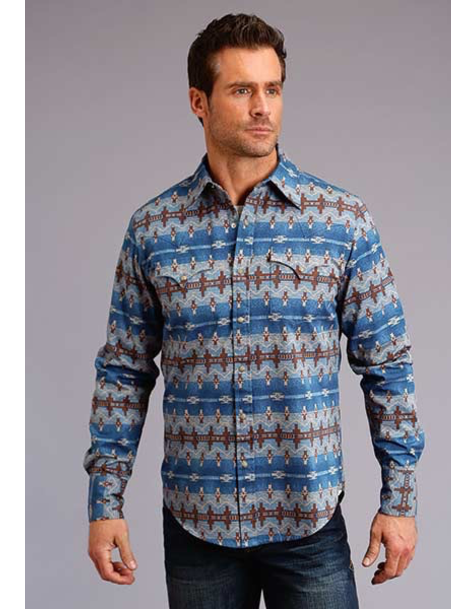 Tops-Men Stetson 11-001-0425-0651 Blue Aztec Print