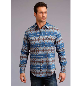 Tops-Men Stetson 11-001-0425-0651 Blue Aztec Print