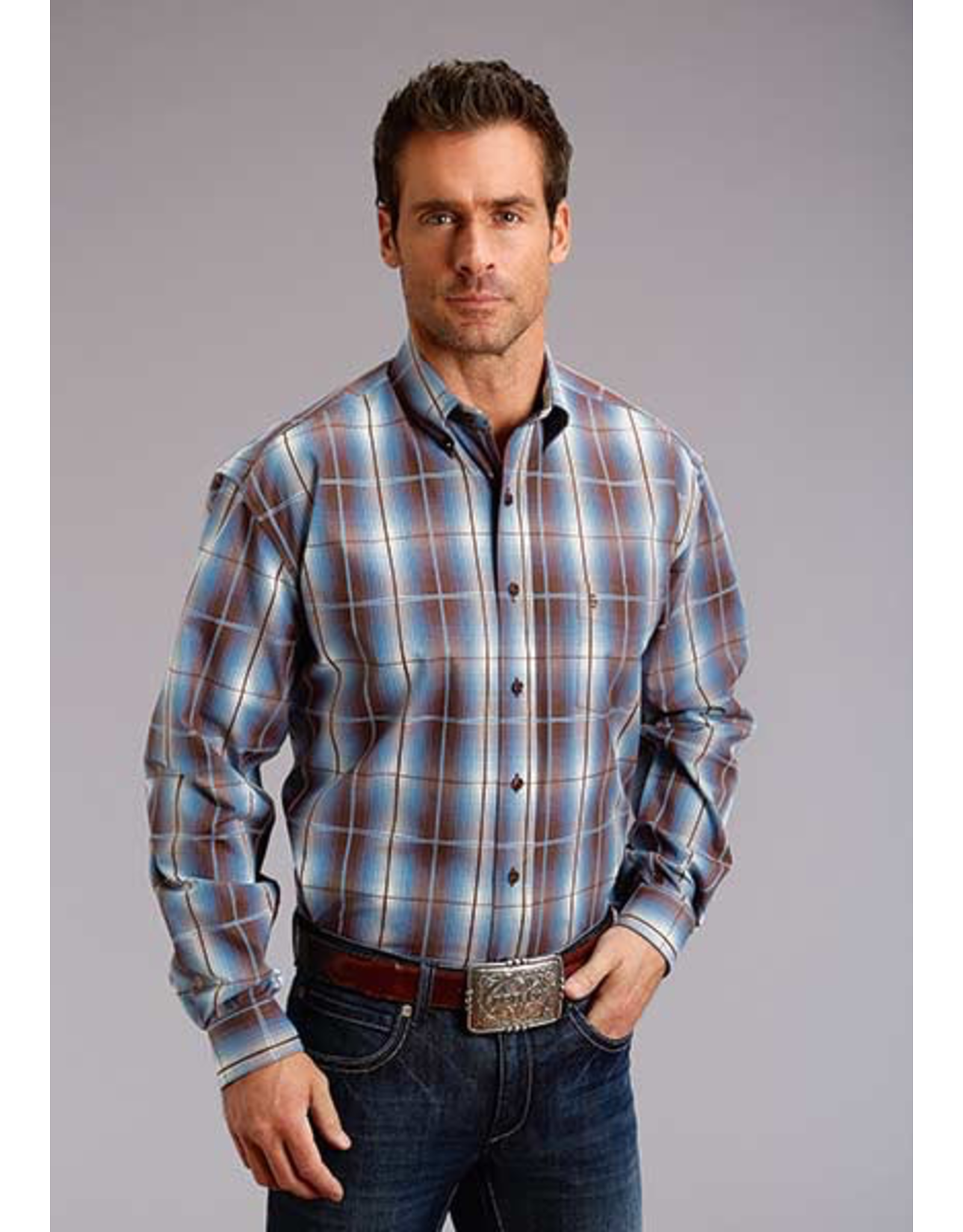 Tops-Men Stetson 11-001-0579-0758 9856 Line Plaid
