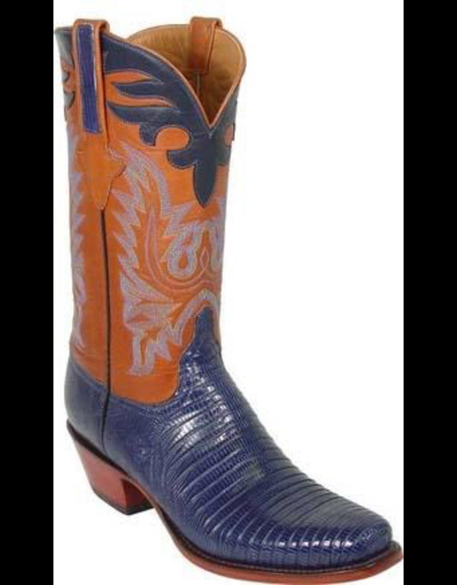 Boots-Men LUCCHESE L1290.54 11.5 D Handmade Navy Lizard