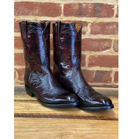 Boots-Men LUCCHESE E1845.RR 10 D Black Cherry Smooth Ostritch