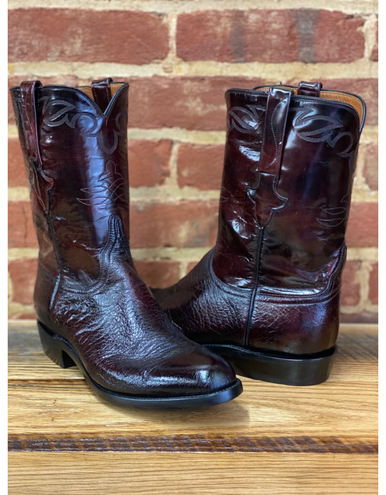 Boots-Men LUCCHESE E1845.RR 10 D Black Cherry Smooth Ostritch
