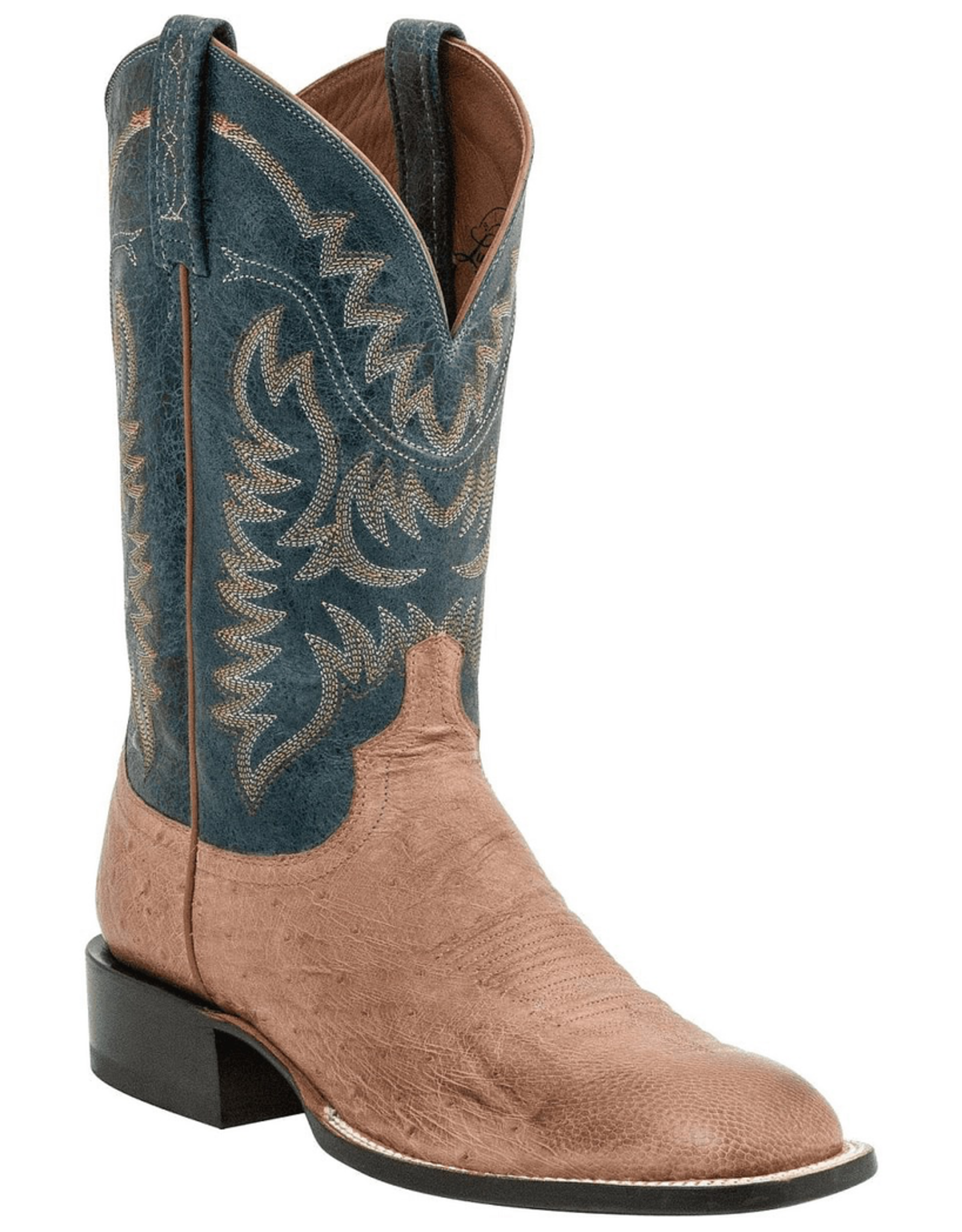 Boots-Men LUCCHESE M2671 9.5 D Tan Smooth Ostritch