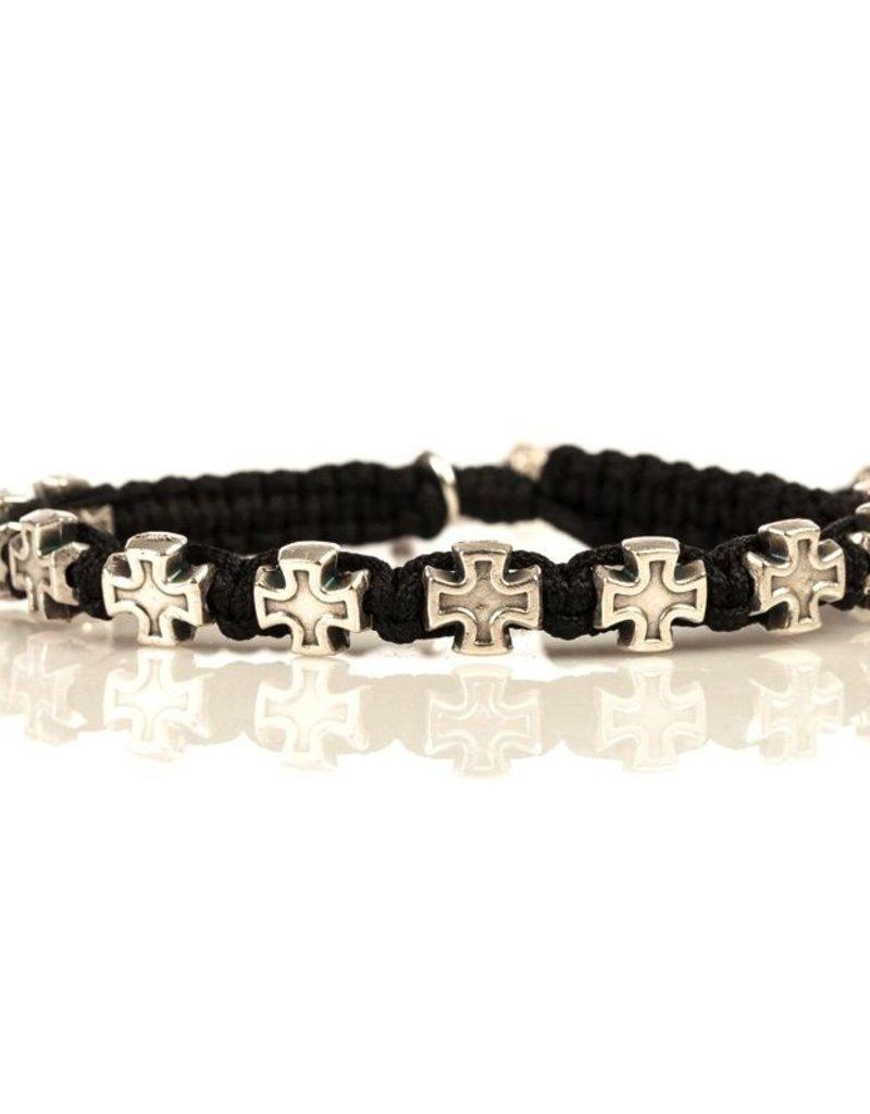 My Saint My Hero - Faith Blessing Bracelet - Silver Medal-Black