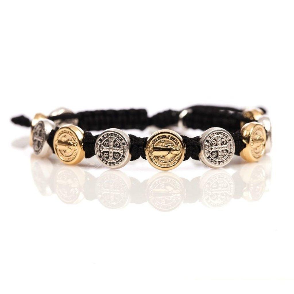 My Saint My Hero My Saint My Hero - Benedictine Blessing Bracelet - Gold & Silver Medals - Black