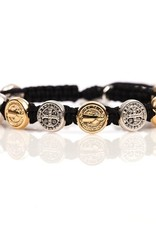 My Saint My Hero - Benedictine Blessing Bracelet - Gold & Silver Medals - Black