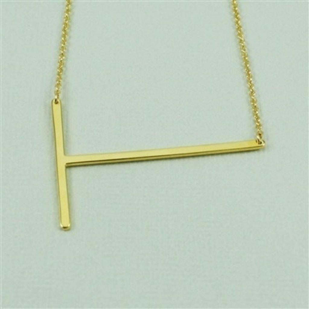 Cool and Interesting Cool and Interesting - Gold Plated Large Sideways Initial Necklace - T