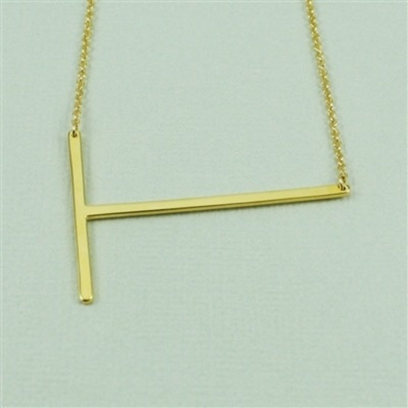 Cool and Interesting Gold Plated Large Sideways Initial Necklace - T