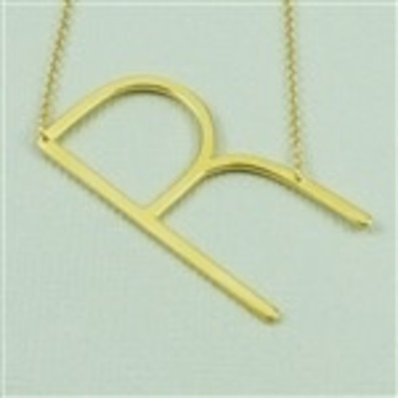 Cool and Interesting Gold Plated Large Sideways Initial Necklace - R
