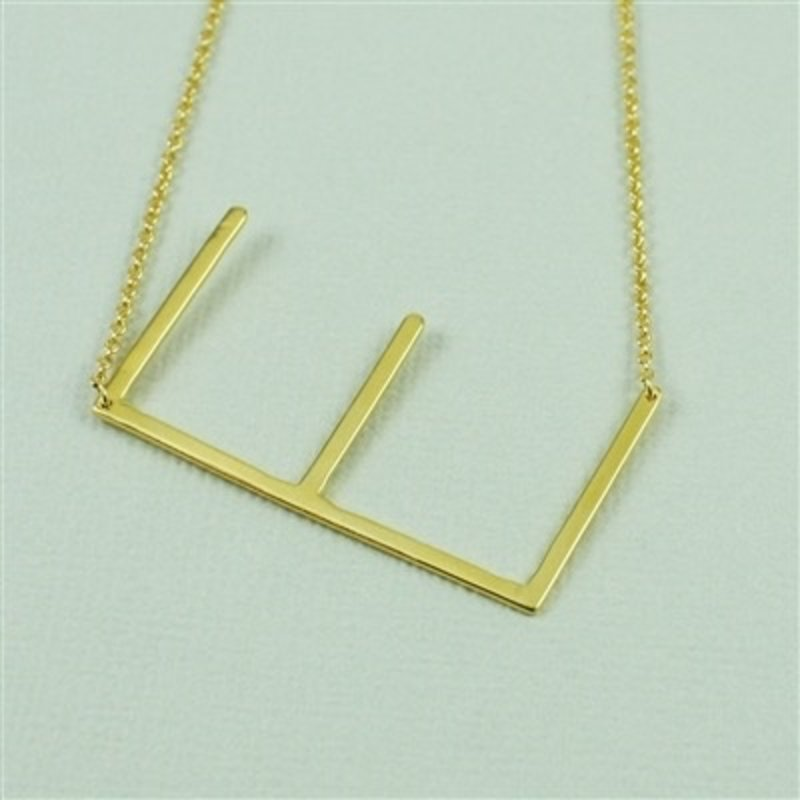 Cool and Interesting Gold Plated Large Sideways Initial Necklace - E
