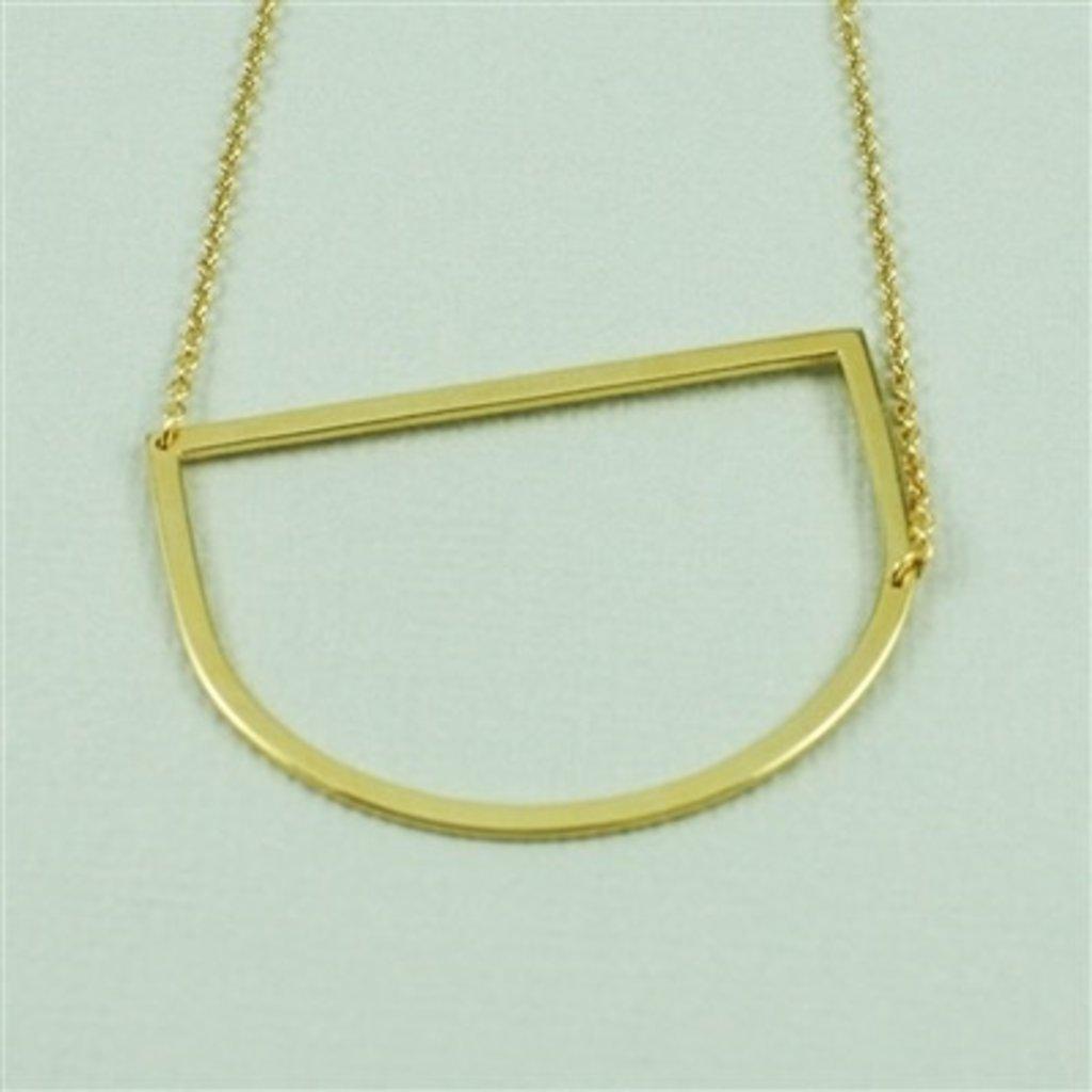 Cool and Interesting Cool and Interesting - Gold Plated Large Sideways Initial Necklace - D