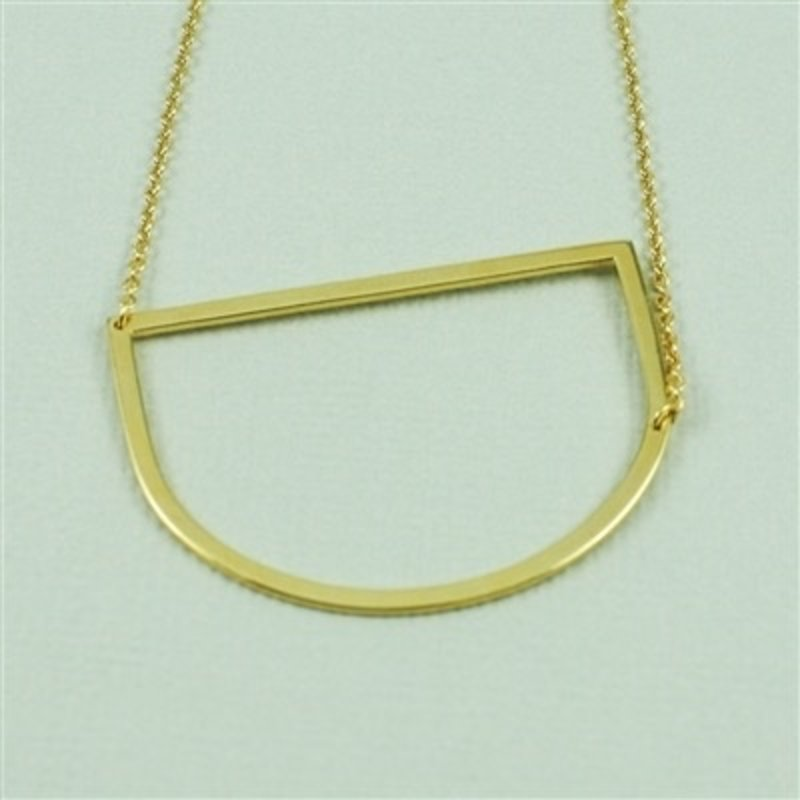 Cool and Interesting Gold Plated Large Sideways Initial Necklace - D