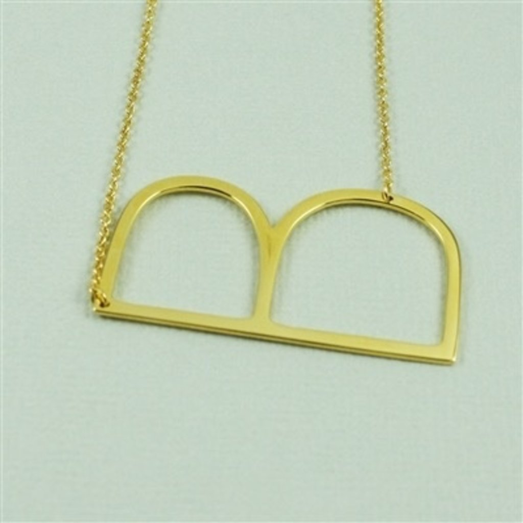 Cool and Interesting Cool and Interesting - Gold Plated Large Sideways Initial Necklace - B
