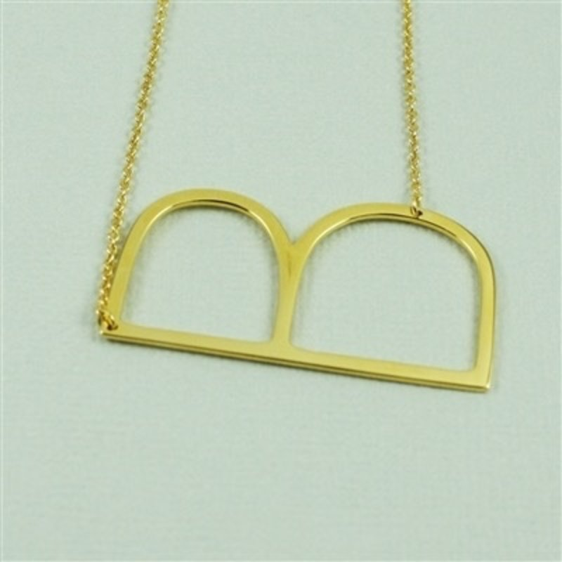 Cool and Interesting Gold Plated Large Sideways Initial Necklace - B