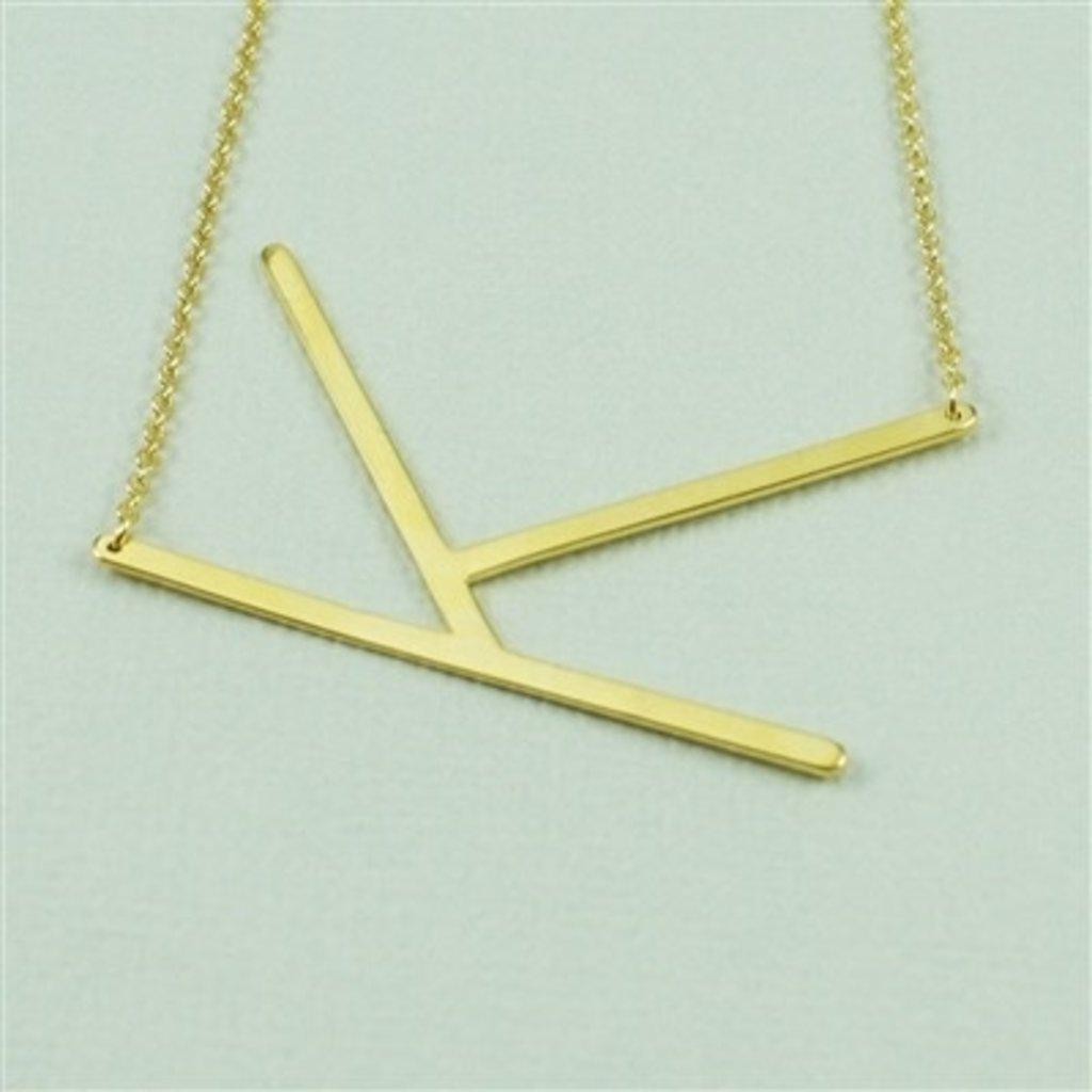 Cool and Interesting Cool and Interesting - Gold Plated Large Sideways Initial Necklace - K
