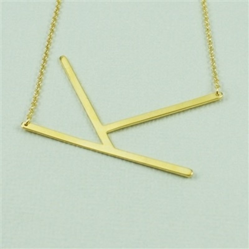 Cool and Interesting Gold Plated Large Sideways Initial Necklace - K