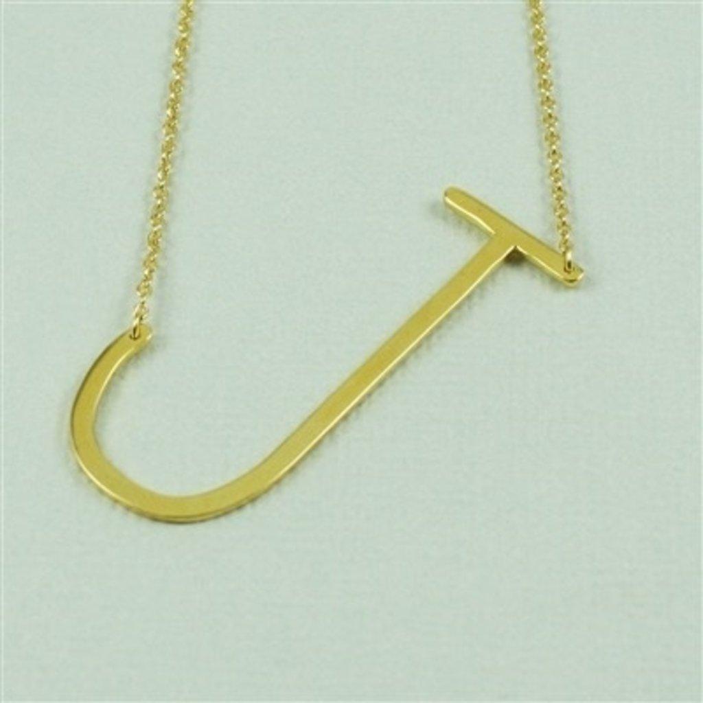 Cool and Interesting Cool and Interesting - Gold Plated Large Sideways Initial Necklace - J