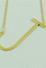Cool and Interesting - Gold Plated Large Sideways Initial Necklace - J