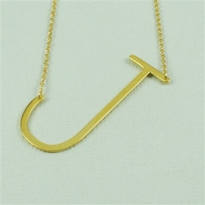 Cool and Interesting Gold Plated Large Sideways Initial Necklace - J