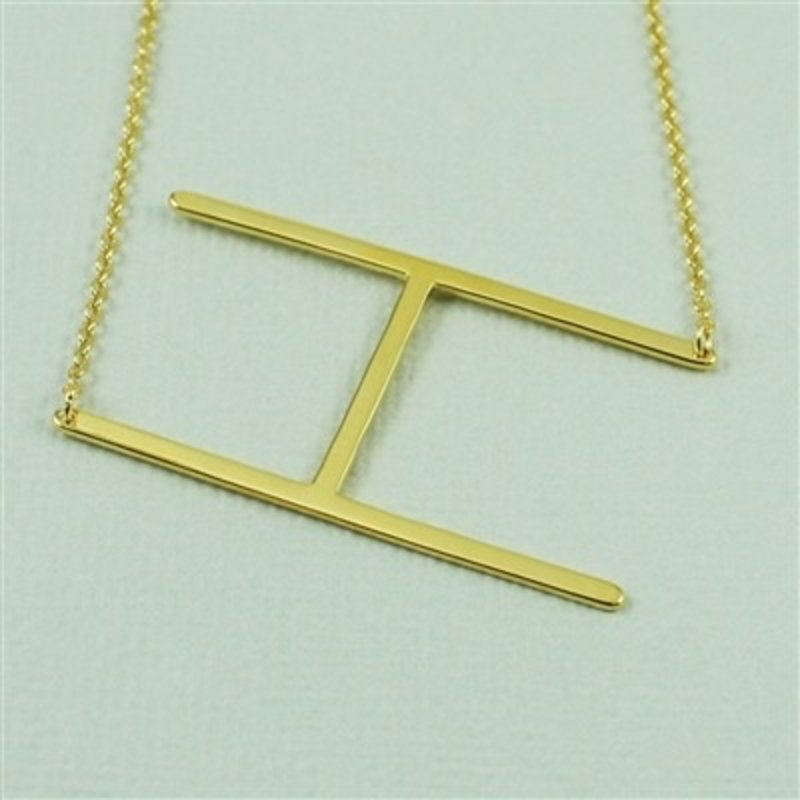 Cool and Interesting Gold Plated Large Sideways Initial Necklace - H