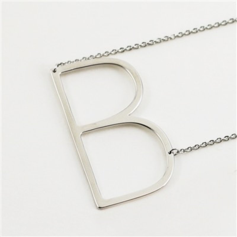 Cool and Interesting Silver Plated Large Sideways Initial Necklace - B