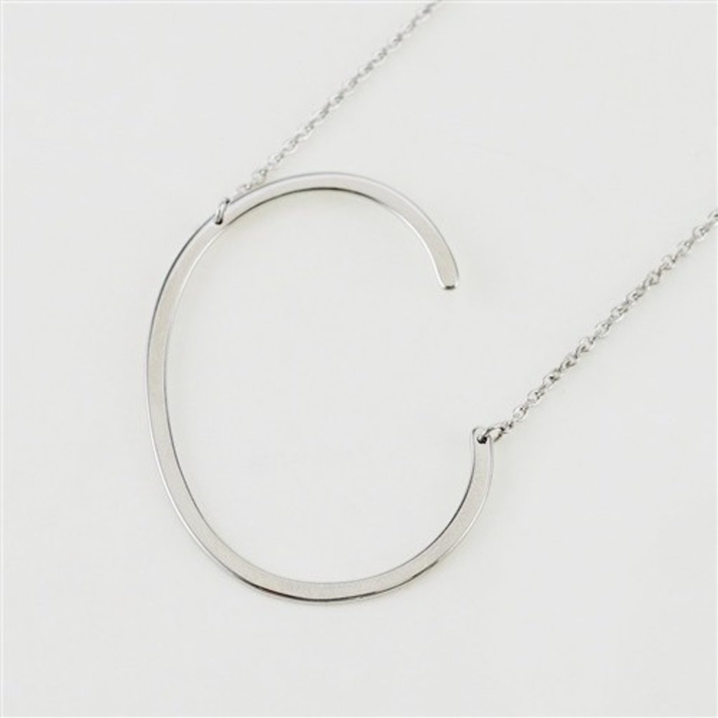Cool and Interesting Cool and Interesting - Silver Plated Large Sideways Initial Necklace - C