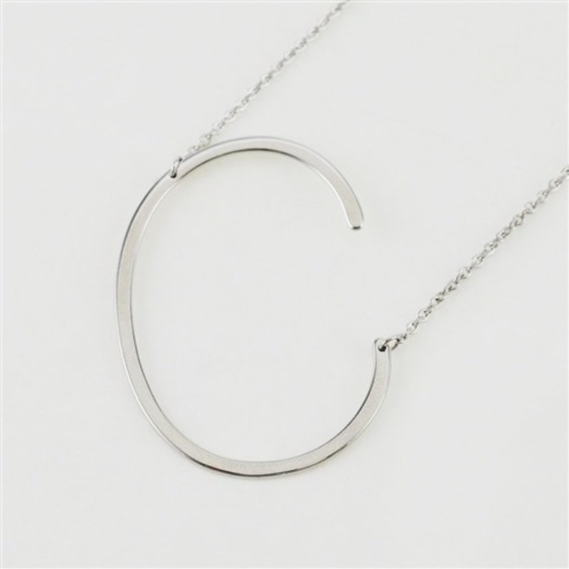 Cool and Interesting Silver Plated Large Sideways Initial Necklace - C