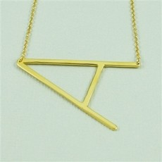 Cool and Interesting - Gold Plated Large Sideways Initial Necklace - A