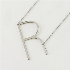 Cool and Interesting Cool and Interesting - Silver Plated Large Sideways Initial Necklace - R
