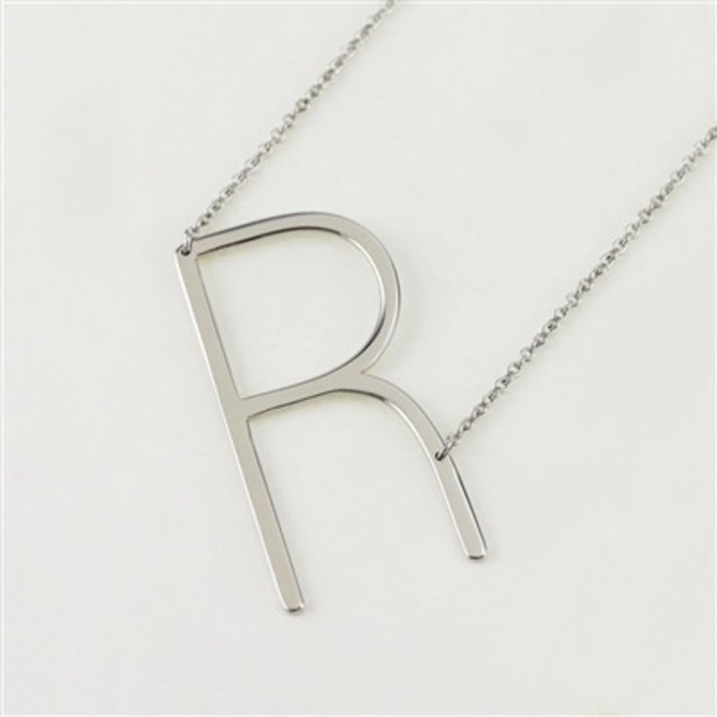 Cool and Interesting Silver Plated Large Sideways Initial Necklace - R