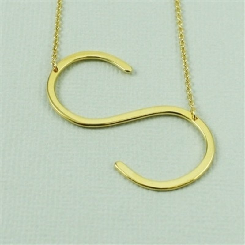 Cool and Interesting Gold Plated Large Sideways Initial Necklace - S