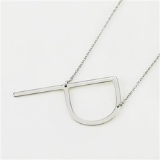 Cool and Interesting Cool and Interesting - Silver Plated Large Sideways Initial Necklace - P