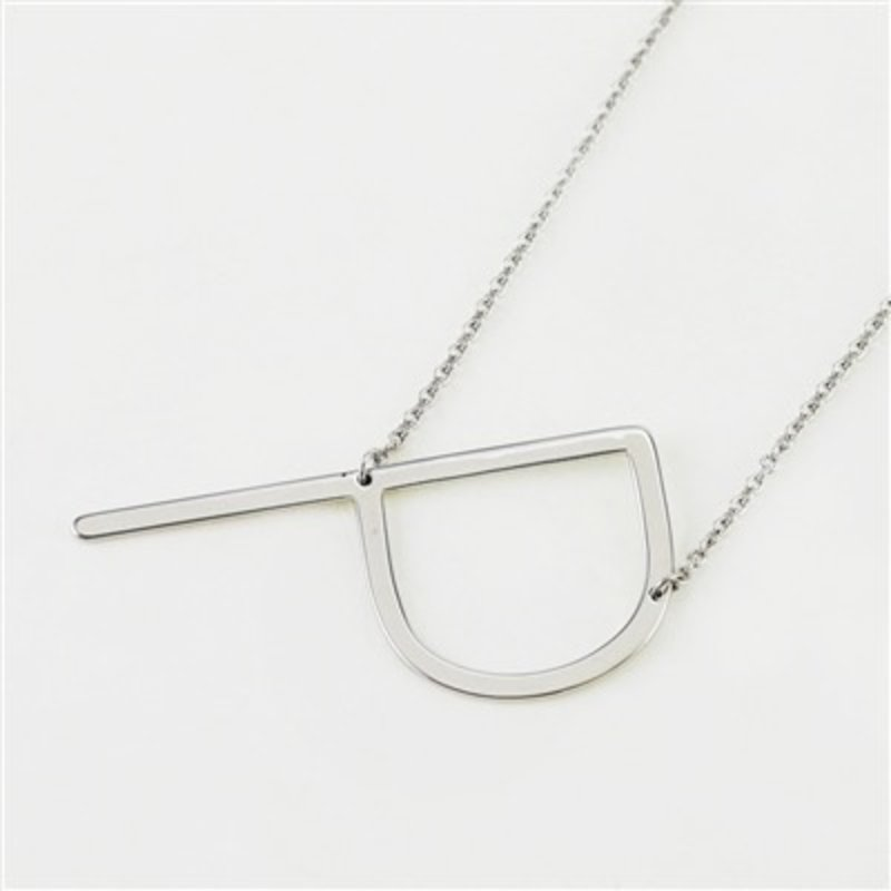 Cool and Interesting Silver Plated Large Sideways Initial Necklace - P