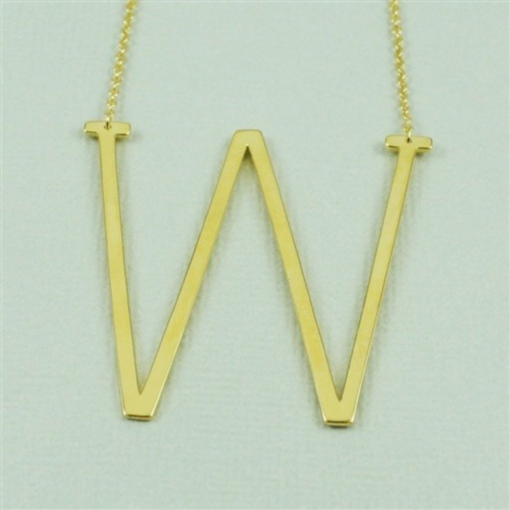 Cool and Interesting - Gold Plated Large Sideways Initial Necklace - W