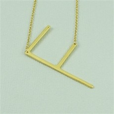 Cool and Interesting Cool and Interesting - Gold Plated Large Sideways Initial Necklace - F
