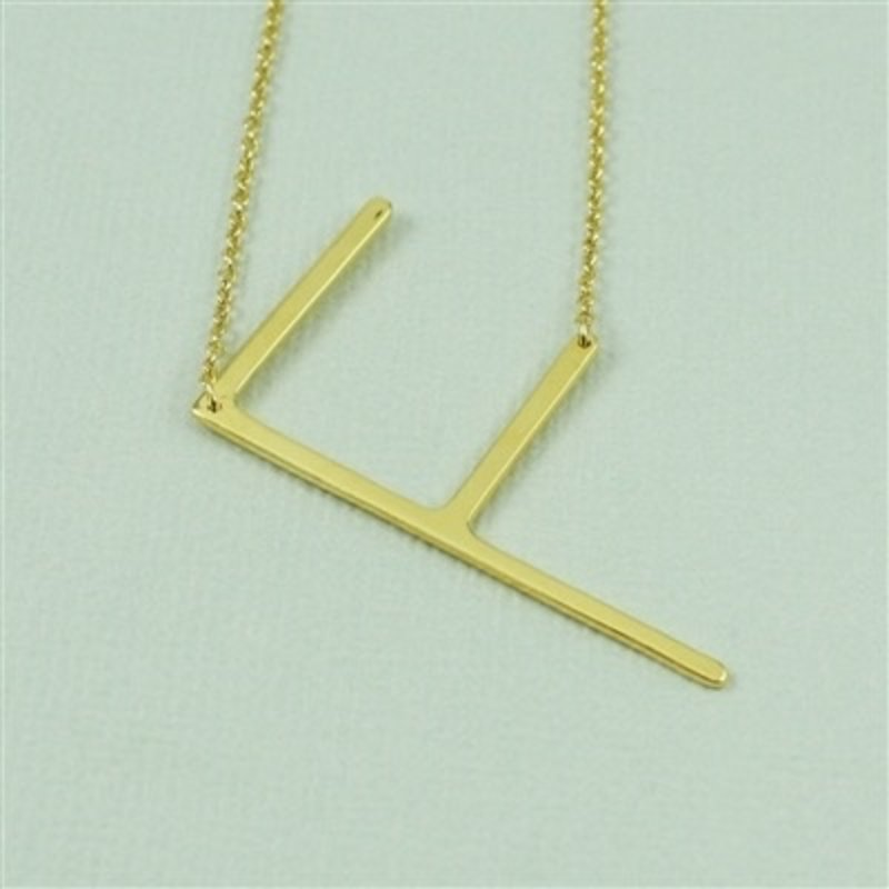 Cool and Interesting Gold Plated Large Sideways Initial Necklace - F