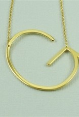 Cool and Interesting - Gold Plated Large Sideways Initial Necklace - G