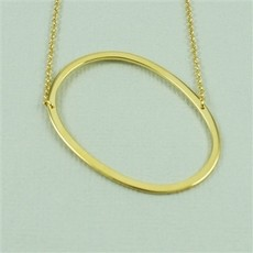 Cool and Interesting Cool and Interesting - Gold Plated Large Sideways Initial Necklace - O